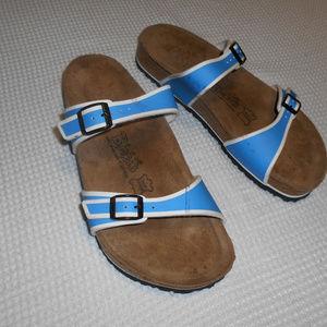 Birkis Sandals Size 41 Womens Blue White Straps